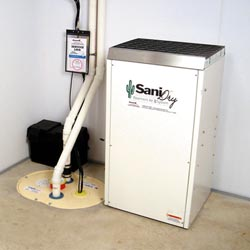 An ENERGY STAR® Rated basement dehumidifier installed in a home