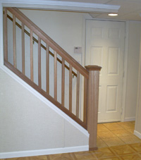 Renovated basement staircase in Wilbraham