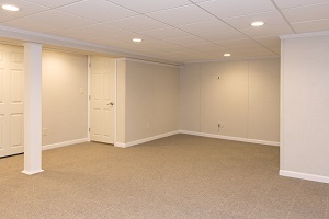 A complete finished basement system in a Easthampton home