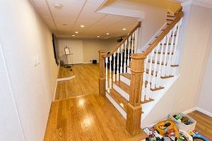 Finishing touches for a remodeled basement in South Windsor