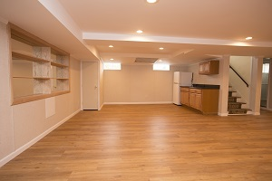 A beautiful, finished basement in Mass