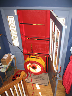 Blower door test for Granby homes